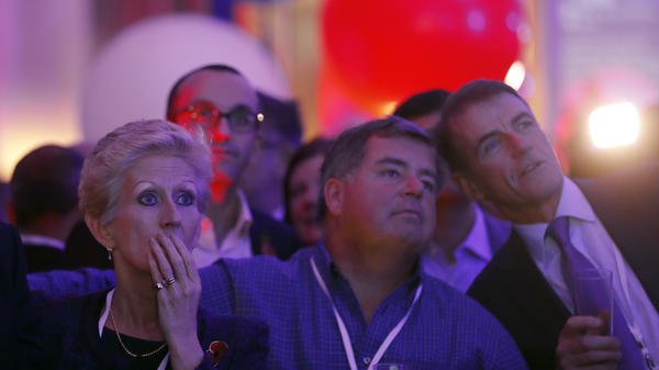People react to results on a TV screen Wednesday during an election night party at the United States Embassy in London.