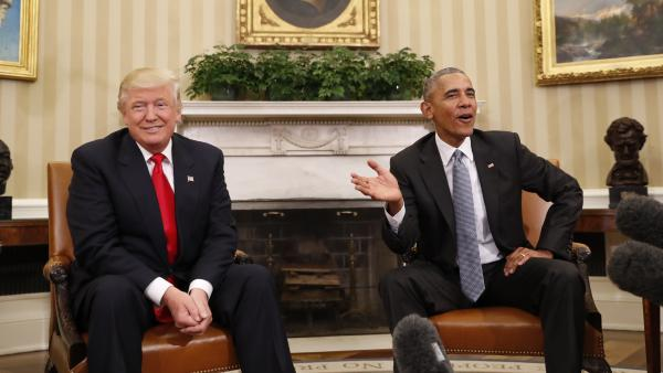 President Obama, here meeting with President-elect Donald Trump in the Oval Office on Thursday, apparently won't push Congress to implement the Trans-Pacific Partnership trade deal which Trump is expected to scuttle when he takes over.