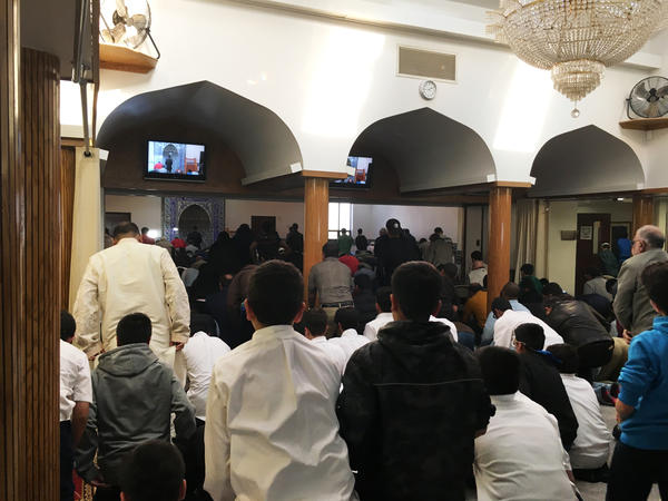 The Islamic Society of Central Jersey was founded more than 40 years ago. Hundreds of people pack into the mosque's sanctuary for afternoon prayers.