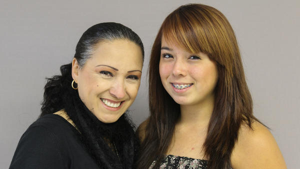 Alicia Beltrán-Castañeda and her daughter Serena Castañeda, on a visit with StoryCorps in Salinas, Calif.