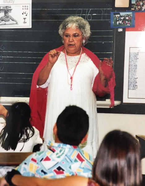 Alicia's mother, Beatriz Beltrán, in a classroom at Sherwood Elementary talking about Mexican culture in 1994.
