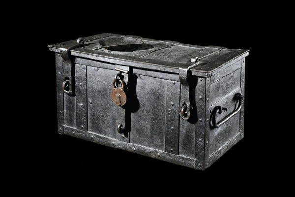 Indulgence Chest, 16th century with a padlock from 20th century. The trunk was used by a Catholic Church to collect money from followers who wanted a reduced time in purgatory. Martin Luther believed this type of donation was church corruption.