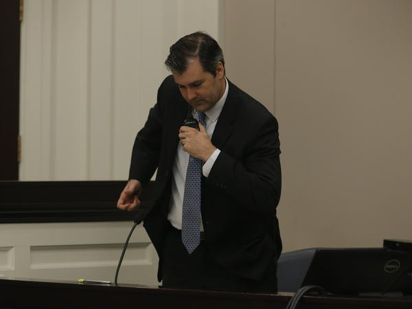 Former North Charleston, S.C., police Officer Michael Slager testifies Tuesday during his murder trial.