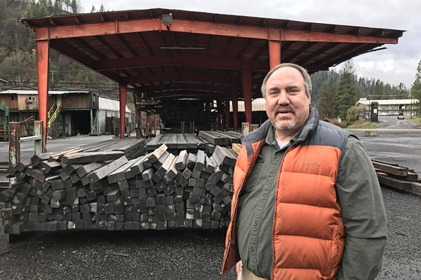 "Like most people in Clearwater County, where Orofino is located, Mike Reggear has spent his entire life working in the timber business. ""Clearwater County has taken a double shot to the nose,"" he says, following the closure of two mills that left more than a hundred people out of work."