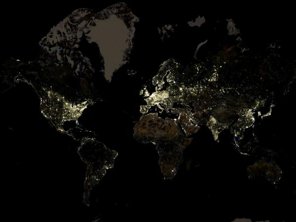 A nighttime satellite image offers some information about pockets of poverty — that's where electricity isn't lighting things up.