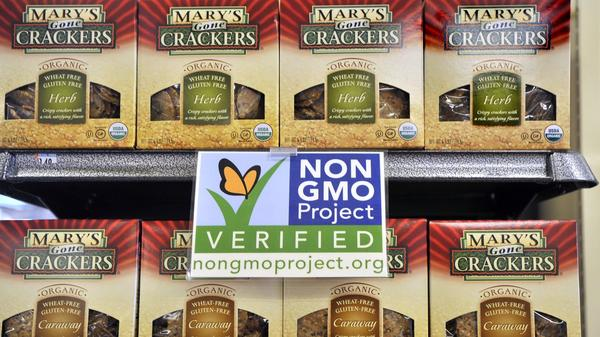 Non-GMO labels, like this one at Whole Foods, may strengthen consumer perceptions that genetically modified foods may carry risks to health.