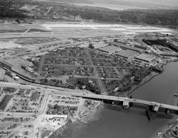 <p>A historical aerial shot of Plant 2 — which Boeing disguised to protect it from being bombed — on the Duwamish River in South Seattle. The lasting legacy of the B-17 bomber is a complicated one — the Nazis were defeated, but the Duwamish is so polluted that its fish can't be eaten.</p>