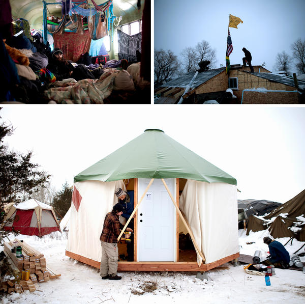 "(Left) Flutter-By, a newer arrival, rests in the middle of his school bus, ""Mamacita,"" which sleeps 12 people side-by-side. (Right) Brad Kallio of Michigan and Linus Yellowhorse of Arizona patch roofing on a dwelling at the Oceti Sakowin camp. (Bottom) Protestors from North Carolina brought a ""yome,"" a combination yurt and dome, to erect and leave at the Rosebud camp for whoever needs it."