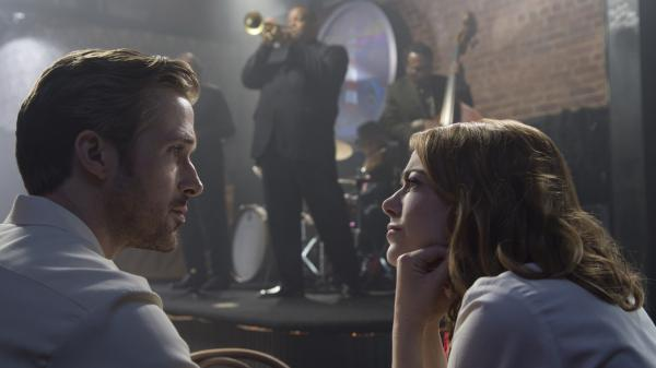 Sebastian (Ryan Gosling) and Mia (Emma Stone) in <em>La La Land</em>.
