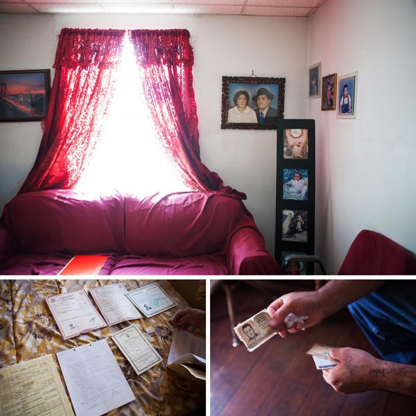 (Top) The living room of the Palma household in El Paso is adorned with family photographs. (Left) Documents that helped prove Palma's U.S. citizenship are laid out. (Right) Palma displays his grandfather's U.S.-issued identification card.