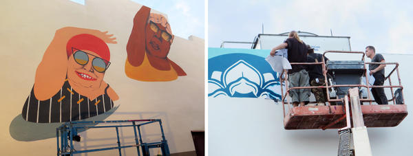 (Left) Artist Marina Capdevila's Old Ladies Doing Aquagym in progress. (Right) Muralist Shepard Fairey works on an environmental awareness piece at Eneida Hartner Elementary.