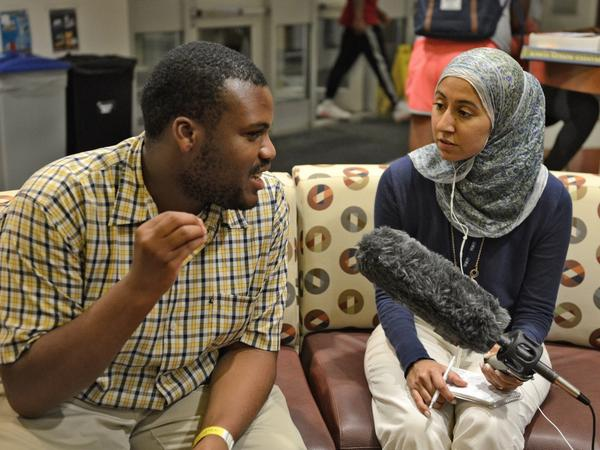 NPR's Asma Khalid chats with a student at Elon University in North Carolina.