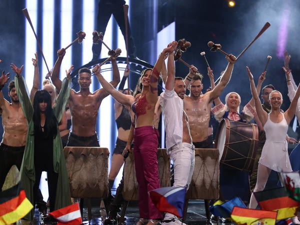 """Sweden performed """"Love, Love, Peace, Peace,"""" a tongue-in-cheek musical tutorial for winning the Eurovision Song Contest."""