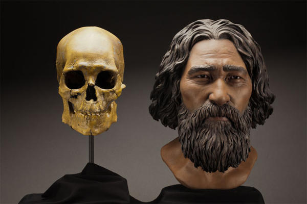 File photo of clay facial reconstruction of the 9,000-year-old remains known as Kennewick Man.