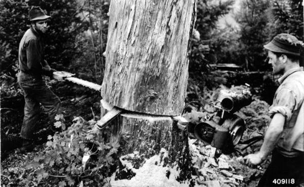 <p>Two-man chainsaws only enjoyed a brief window of popularity before lighter, easier-to-use one-man models came along.</p>