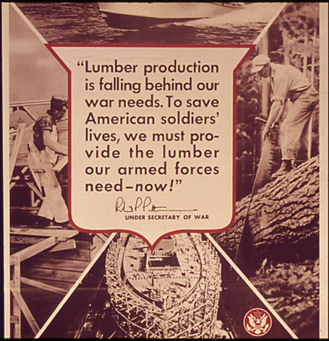 <p>The U.S. wartime need for timber was great, and labor shortages forced the government to exempt loggers from the draft.</p>