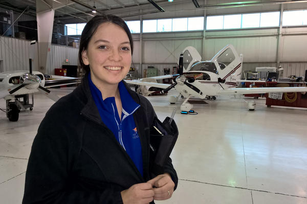 Madelynn Benedict made the switch from a traditional public high school to West Michigan Aviation Academy during her sophomore year.