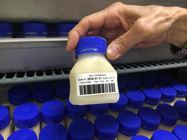 A 100 ml bottle of pasteurized, donated breast milk at the new non-profit milk bank in Hastings-on-Hudson, NY. These cost $15 each.