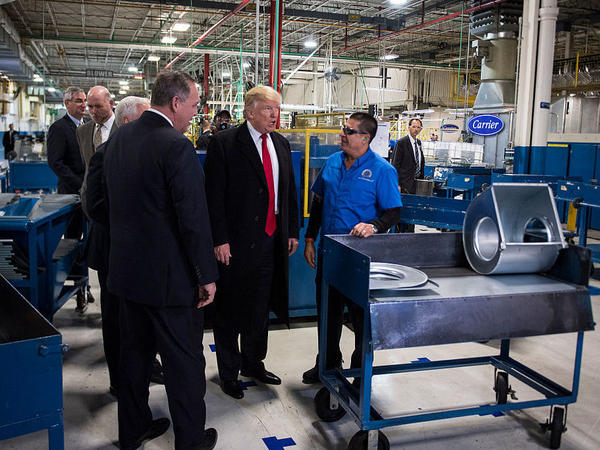 President-elect Donald Trump tours the Carrier Corp. in Indianapolis on Dec. 1. The president of the union representing Carrier workers has challenged Trump's claims about how many of the plant's jobs will remain in the U.S.