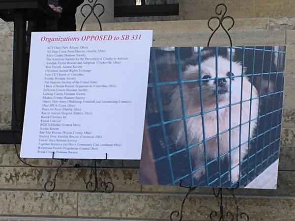 Puppy mill signs displayed by opponents of pet store bill