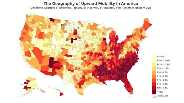 A map of the U.S. shows children's chances of moving from the bottom fifth of income levels to the top fifth.