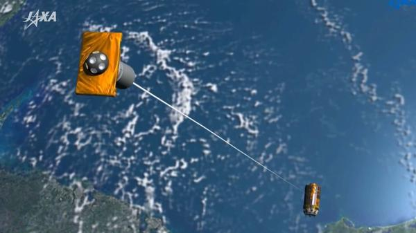 A rendering in a video by the Japan Aerospace Exploration Agency (JAXA) shows an electrodynamic tether being deployed to help reduce the amount of space junk in orbit.