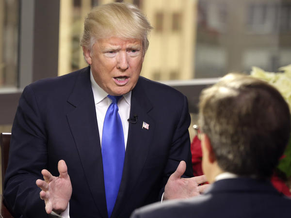 President-elect Donald Trump is interviewed by Chris Wallace of <em>Fox News Sunday</em> at Trump Tower in New York.
