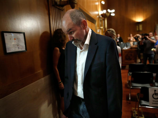 Former NFL fullback Kevin Turner leaves a hearing of the Senate Special Committee on Aging in 2014. He died earlier this year from severe chronic traumatic encephalopathy.