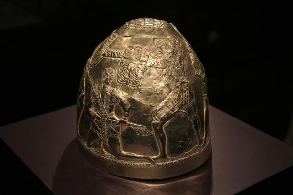 A Scythian gold helmet from the fourth century B.C., which is part of the collection that was in limbo after Russia annexed Crimea.