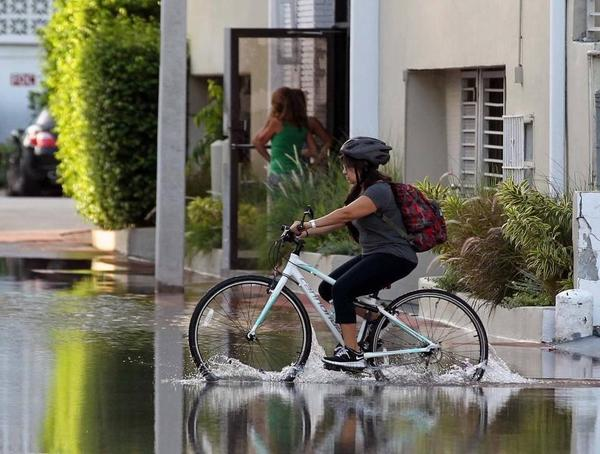 In this October 2016 photo, a student braves king tide flooding to bike across Lincoln Road Court in Miami Beach.