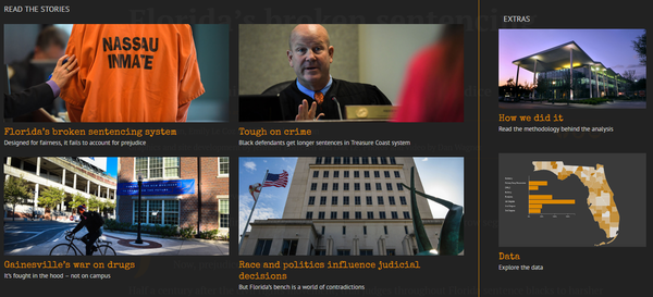 "Screenshot from the Sarasota Herald-Tribune's ""Bias on the Bench"" series online."