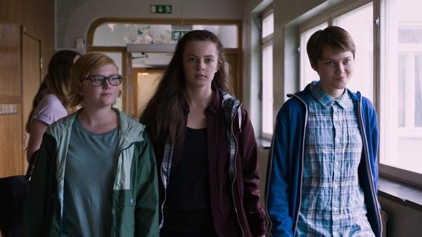 Wilma Holmén (left), Louise Nyvall (center) and Tuva Jagell (right) in <em>Girls Lost</em>.