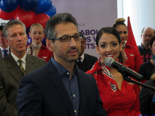 Alaska Airlines President and COO Ben Minicucci, who spoke to a large crowd of airline employees at SFO Wednesday, is leading the integration of Virgin America and Alaska Air.