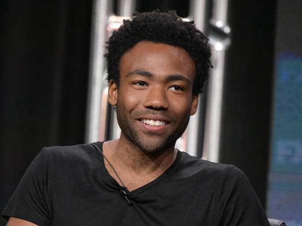 Donald Glover participates in a panel about his TV show <em>Atlanta</em> during a press tour.