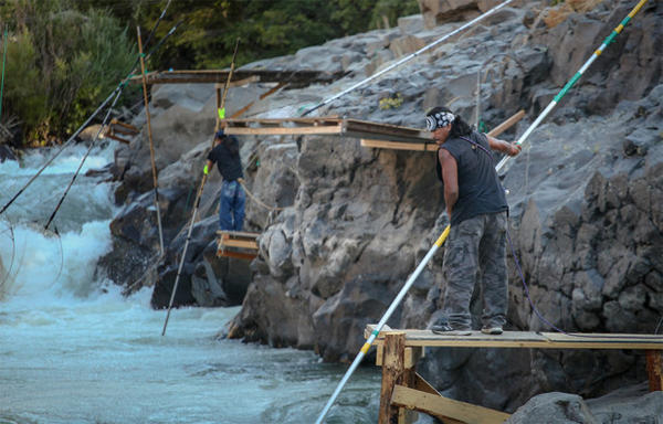 <p>Tribal fishermen use dip nets to fish from platforms at Lyle Falls. Platforms are maintained and improved by the fishermen throughout the year.</p>