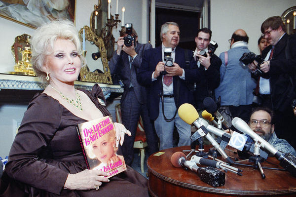 Gabor appears at a press event for her autobiography, <em>One Lifetime is Not Enough,</em> on Nov. 19, 1991.