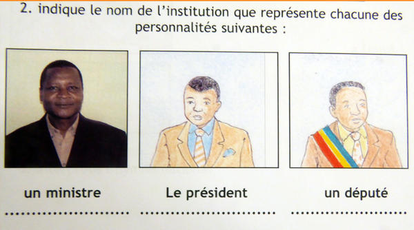 Example 1: All the government leaders are men in this illustration from a 2006 Democratic Republic of the Congo textbook.