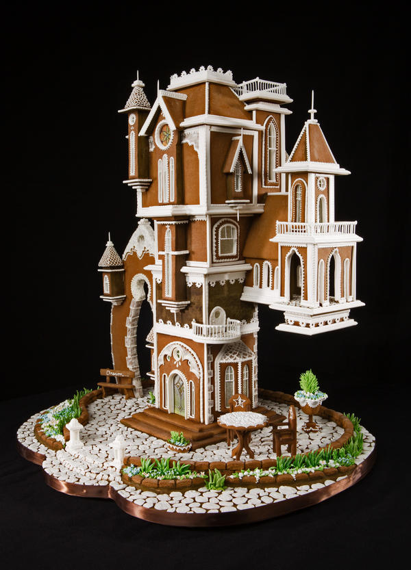 Grand prize winner Beatriz Müller's entry harkens back to the classic gingerbread creations — a Gothic style home embellished with spires, arches and other gravity-defying features.