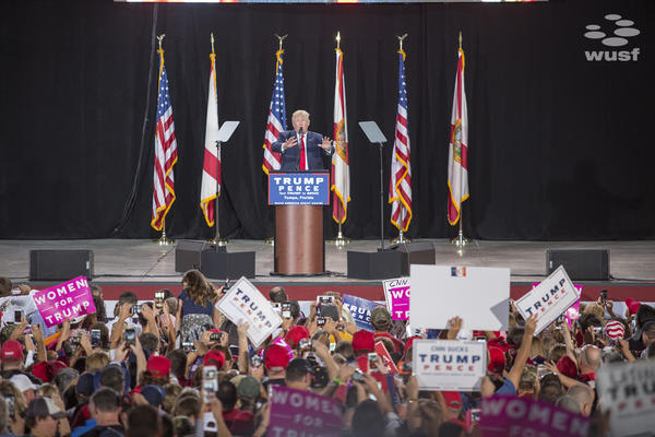 President-Elect Donald Trump at a Tampa rally in October 2016.