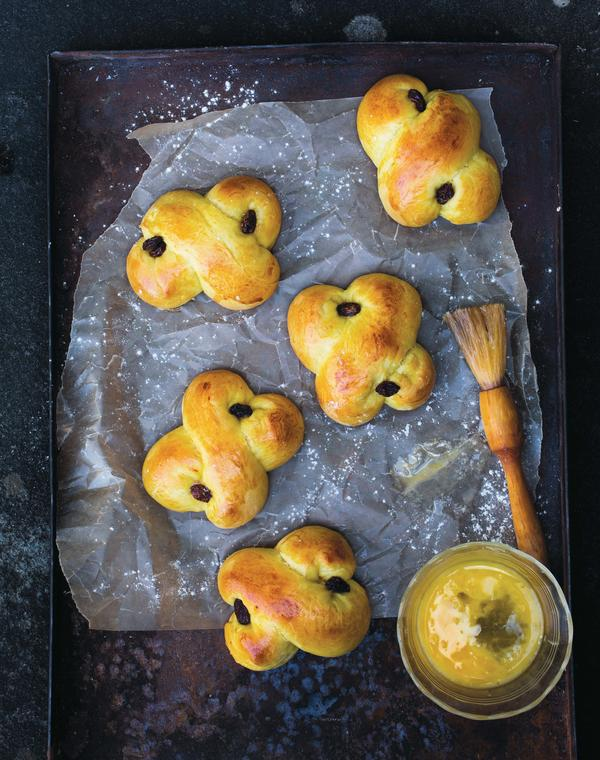 In December, saffron buns are baked into many different symbolic shapes that have roots in both Christian and pagan practices.