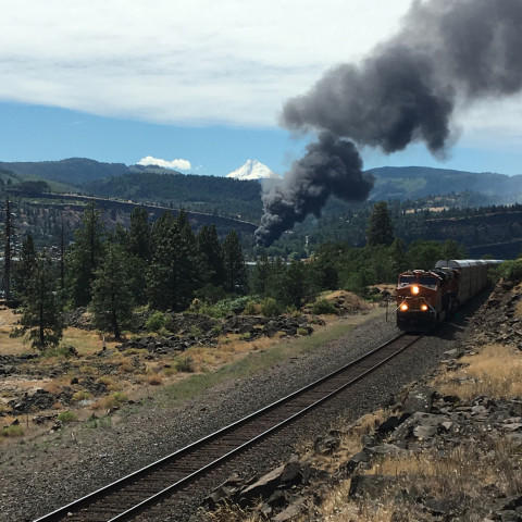 <p>Train derailment fire as seen from Coyote Wall area on Washington state Route 14.</p>