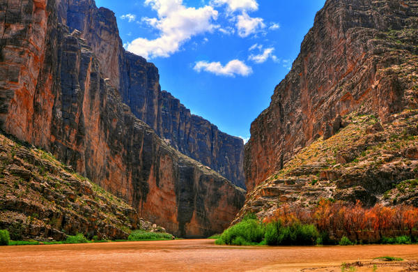 The Rio Grande at the Santa Elena Canyon in Big Bend National Park.