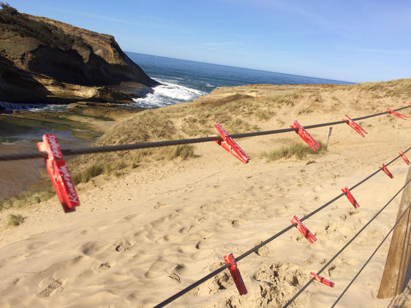 People have placed clothespins along the fence to remember those who have died at Cape Kiwanda.
