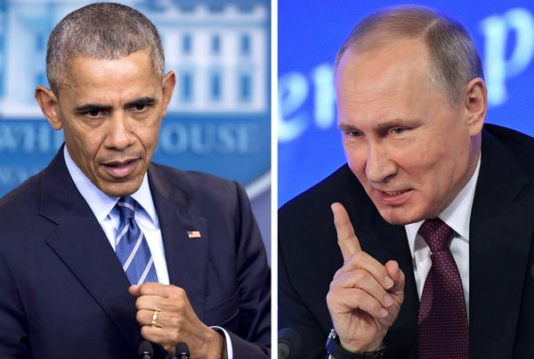 President Obama speaks at the White House on Dec. 16; Russian President Vladimir Putin speaks in Moscow on Dec. 23. The U.S. announced sanctions against Moscow on Thursday, and the Kremlin responded Friday.