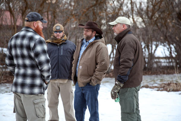 <p>Ammon Bundy, one of the former leaders of the armed occupation in Harney County, Oregon, talks with occupiers at Malheur National Wildlife Refuge in January 2016.</p>