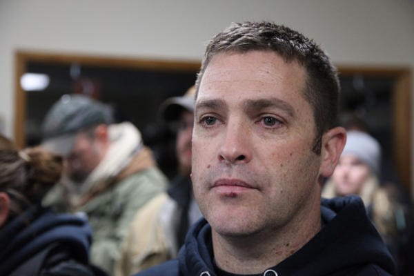 <p>Brandon Curtiss, president of 3% of Idaho, at the Harney County Committee of Safety meeting Friday, Jan. 8, in Burns.</p>