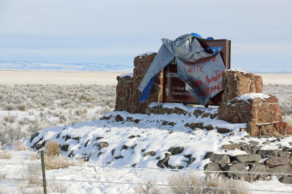 <p>Those who wanted the armed militants to leave Eastern Oregon's Malheur National Wildlife Refuge near Burns, Oregon, kept ripping down a sign the occupiers put up, in January. </p>