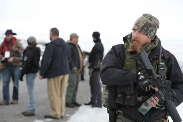 <p>An armed man with a group called the Pacific Patriots Network. The network arrived in Harney County Saturday, Jan. 9, claiming to secure the scene of the occupation at the Malheur National Wildlife Refuge.</p>