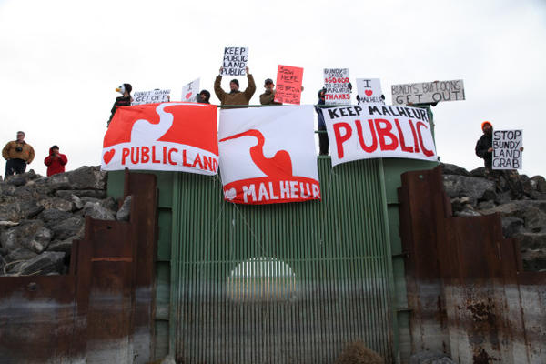 <p>Outdoor enthusiasts gather at The Narrows on the Malheur National Wildlife Refuge to protest its occupation by armed militants in January.</p>