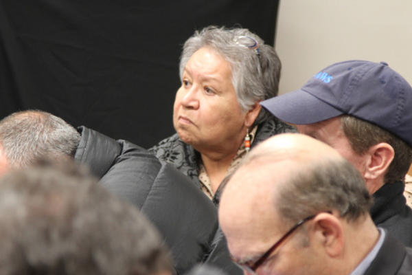 <p>Burns Paiute Tribal Chair Charlotte Roderique watches as the FBI releases video of the traffic stop, which led to the arrest of militant leaders and death of LaVoy Finicum.</p>